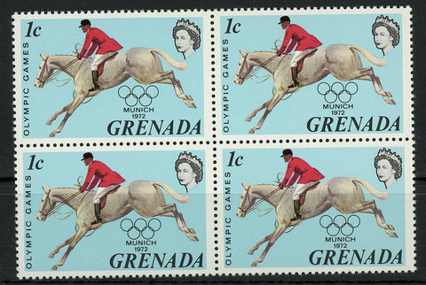 Olympic Games Munich Sport Equestrian Block of 4 Stamps Mint NH