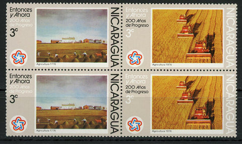 Nicaragua Then and Now Agriculture Block of 4 Stamps MNH