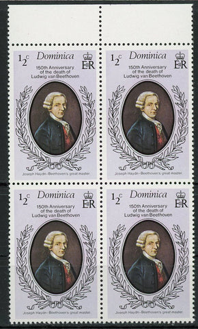 Ludwig van Beethoven Music Art Historical Figure Block of 4 Stamps MNH