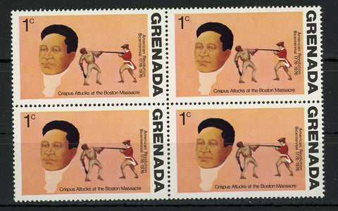 Crispus Attucks at the Boston Massacre American Revolution Block of 4 Stamps MNH