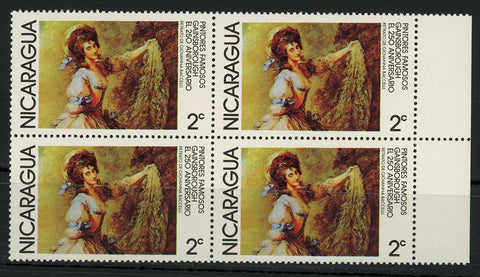 Nicaragua Thomas Gainsborough Famous Paintings Block of 4 Stamps MNH