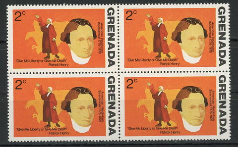 Give me Liberty or give me Death American Revolution Block of 4 Stamps MNH