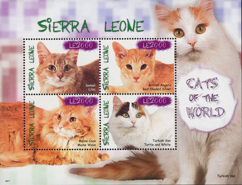 Cats of the World Somali Lilac Maine Coon Souvenir Sheet of 4 Stamps MNH