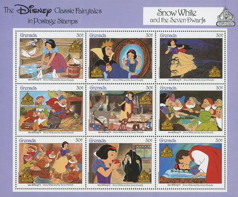 Disney Classics Fairytales Snow White and the Seven Dwarfs S/S of 9 Stamps MNH