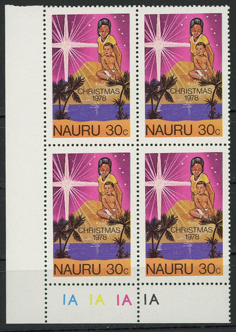 Christmas 1978 Nauru Island Palm Tree Block of 4 Stamps MNH