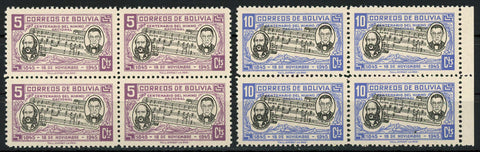 Bolivia National Hymn Anthem Centenary Block of 4 Stamps MNH
