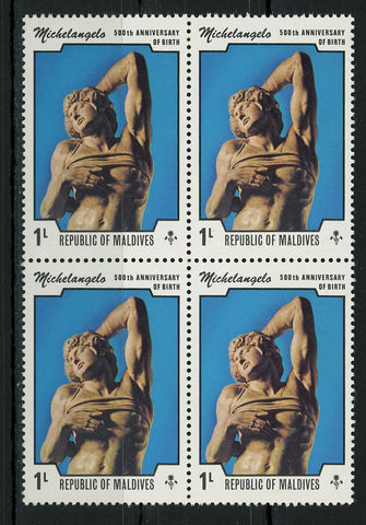 Michelangelo Sculptures Dying Slave Art Block of 4 Stamps MNH