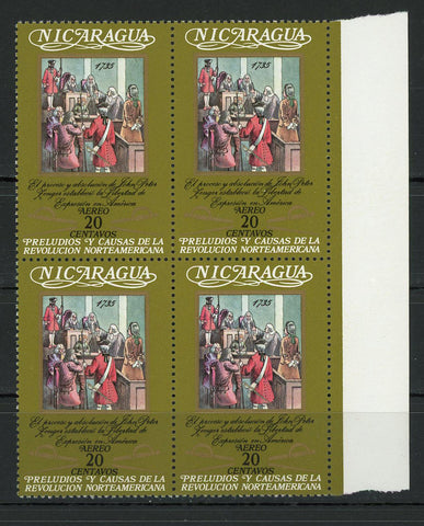 Nicaragua American Revolution Freedom of Speech Block of 4 Stamps MNH