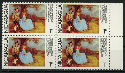 Nicaragua Famous Painters Gainsborough Art Block of 4 Stamps MNH