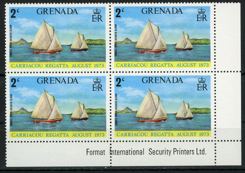 Small Open Decked Sloop Sail Boat Block of 4 Stamps MNH