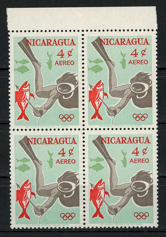 Nicaragua Underwater Fishing Scuba Diving Sports Spearfishing Block of 4 MNH