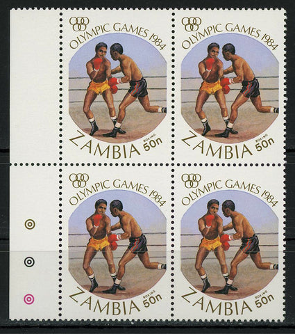 Olympic Games Boxing Sports 1984 Block of 4 Stamps MNH