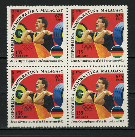 Barcelona Olympic Games Heavy Weight Lifting Sports Block of 4 Stamps MNH