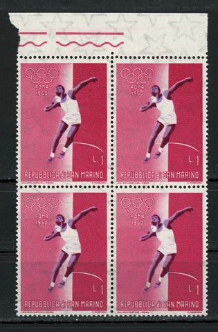 Olympic Games Shot Put Roma 1960 Sports Block of 4 Stamps MNH