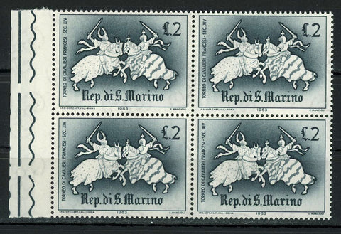 French Knights Tournament Sport Jousting France Block of 4 Stamps MNH