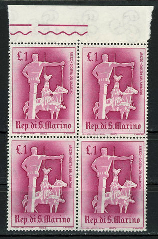 The Saracen Joust of Arezzo Sport Block of 4 Stamps MNH