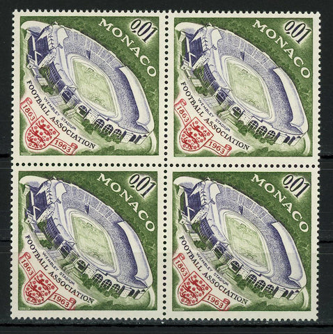 Monaco Football Association Stadium Soccer Sport Block of 4 Stamps MNH