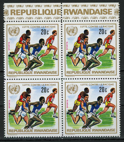 Fight Against Racism United Nations Running Sport Block of 4 Stamps MNH