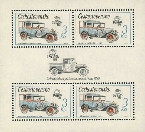 Czechoslovakia Praga Post Office Automobile S/S of 4 Stamps MNH