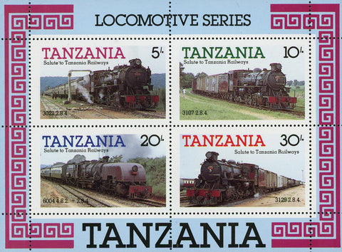 Railways Locomotive Steam Souvenir Sheet of 4 Stamps MNH