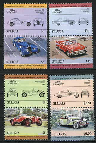 Bugatti Chevrolet Alfa Romeo Serie Set of 4 Blocks of 2 Stamps MNH