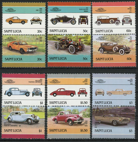 Rolls Royce Buick Chrysler AMC Serie Set of 6 Blocks of 2 Stamps MNH