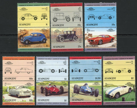 Ferrari Pontiac Cunningham Serie Set of 7 Blocks of 2 Stamps MNH