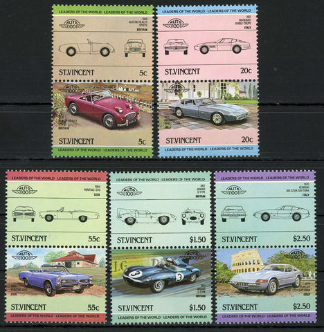 Maserati Ferrari Jaguar Serie Set of 5 Blocks of 2 Stamps MNH