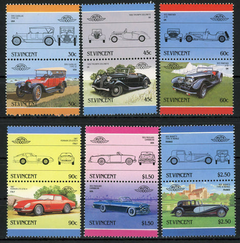 Cadillac Bugatti Ferrari Panther Serie Set of 6 Blocks of 2 Stamps MNH