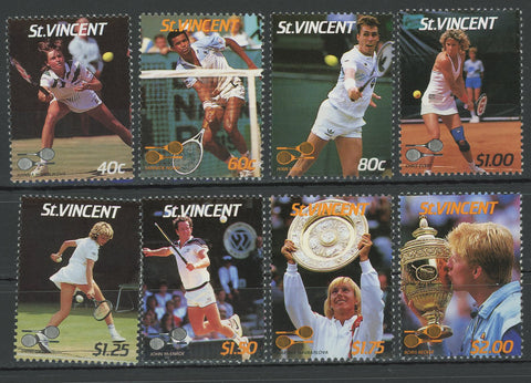 Tennis Players John Mcenroe Ivan Lendl Serie Set of 8 Stamps Mint NH