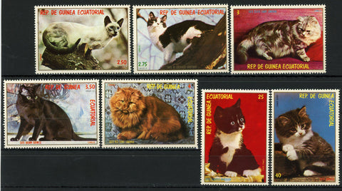 Cat Pet Red Tabby Silver Tabby Brown Burmese Serie Set of 7 Stamps MNH