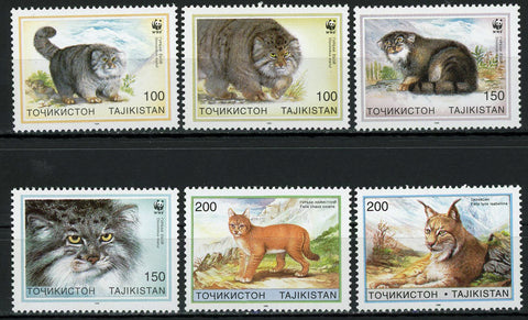 Tajikistan Cat Pet Felis Chaus Felis Lynx Serie Set of 6 Stamps MNH