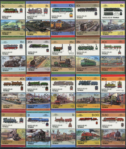 Locomotive Germany UK France Canada Serie Set of 20 Blocks of 2 Stamps MNH