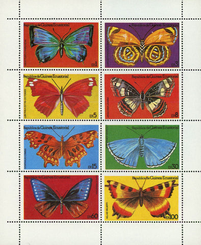 Exotic Butterfly Insect Excelsior Aglas Papilio S/S of 8 Stamps MNH