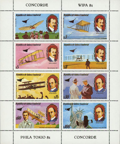 Orville and Wilbur Wright Brothers Flight Airplane S/S of 8 Stamps MNH