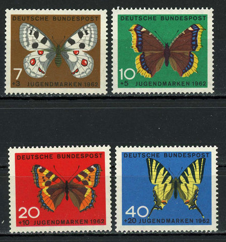 Germany Butterfly Insect 1962 Serie Set of 4 Stamps MNH