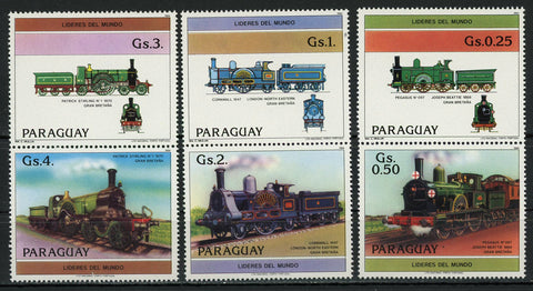 Paraguay Locomotive Cornwall Pegasus Serie Set of 3 Blocks of 2 Stamps MNH