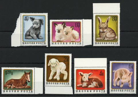 Hungary Pet Animals Dog Cat Horse Serie Set of 7 Stamps MNH