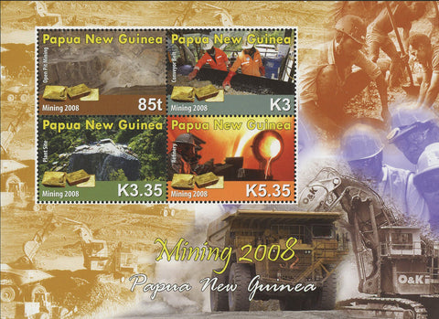 Minning Refinery Pit Minerals Souvenir Sheet of 4 Stamps MNH