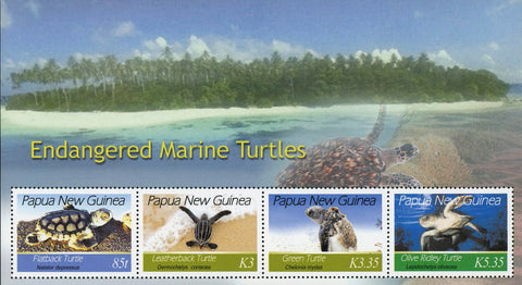 Turtle Endangered Marine Fauna Papua New Guinea Souvenir Sheet of 4 Stamps MNH