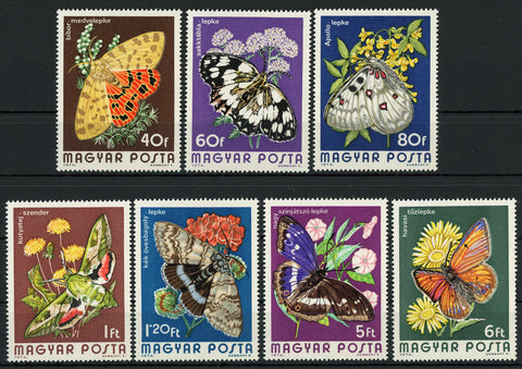 Hungary Flower Butterfly 1974 Serie Set of 7 Stamps MNH