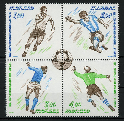 Monaco Soccer Championship Football Cup Sport Spain 1982 Block of 4 Stamps MNH