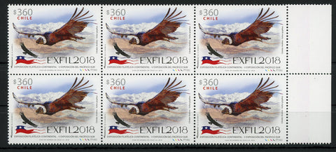 Chile EXFIL 2018 Philatelic Exposition Condor Vultur Bird Block of 6 Mint NH MNH