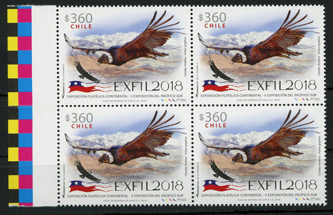 Chile EXFIL 2018 Philatelic Exposition Condor Vultur Bird Block of 4 Mint NH MNH