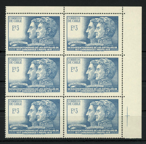 Chile Stamp Sesquicentenario Battles of Chacabuco y Maipu Block of 6 MNH