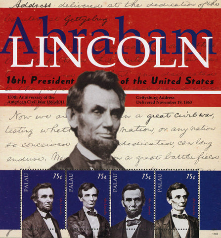 Abraham Lincoln Stamp 16th President USA Civil War 150th Anniversary S/S 4 MNH