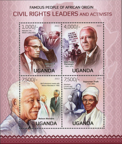 Nelson Mandela Stamp Malcolm X Activists Leaders African Souvenir Sheet Mint NH