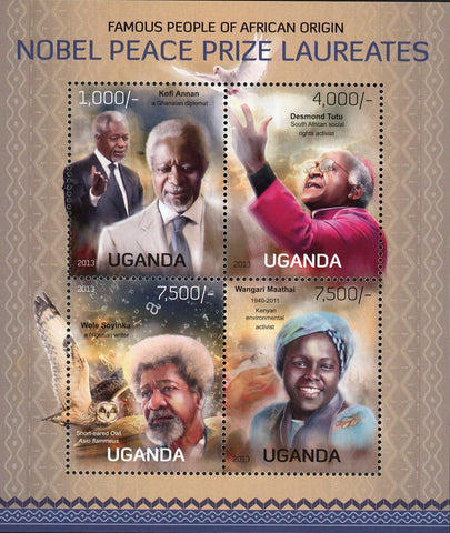 Wangari Maathai Nobel Prize African Souvenir Sheet of 4 Mint NH