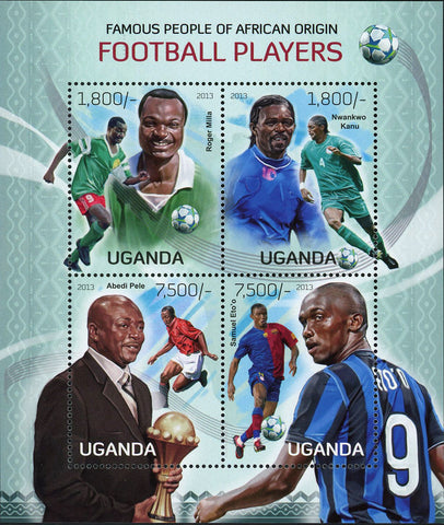 Football African Players Stamp Roger Milla Souvenir Sheet of 4 Mint NH