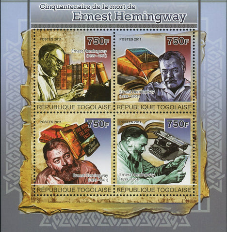 Ernest Hemingway Stamp Historical Figure Souvenir Sheet of 4 Mint NH